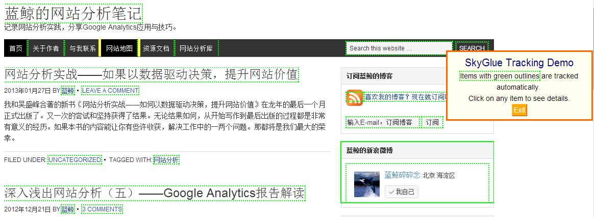 在线访问者追踪工具SkyGlue测试