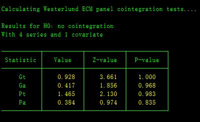 STATA进行面板数据单位根检验和协整检验